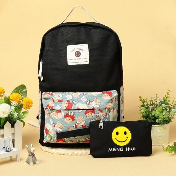 Backpack Bookbag Emoji School Girls Boys Black Laptop Pocket Bag Travel New
