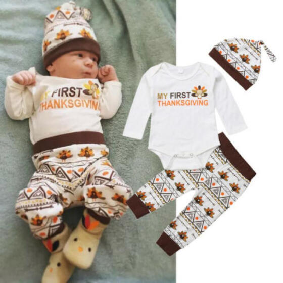 Thanksgiving Outfits Newborn Baby Boy Girl My First Thanksgiving Romper Top Hat Clothes Set Turkey Pant