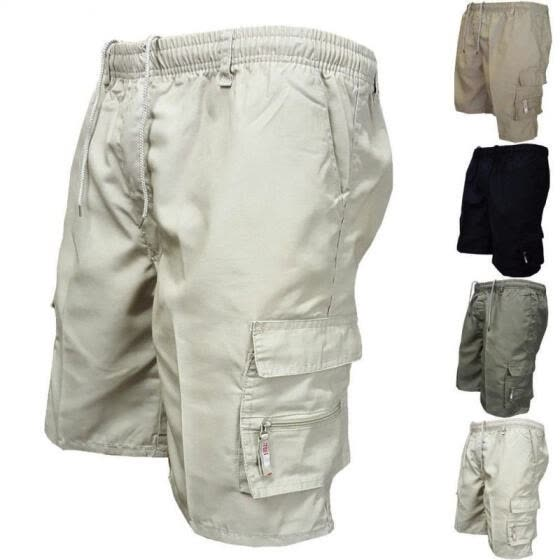 Mens Summer Casual Cargo Shorts Elasticated Half Pant Work Trousers Sport Trunks