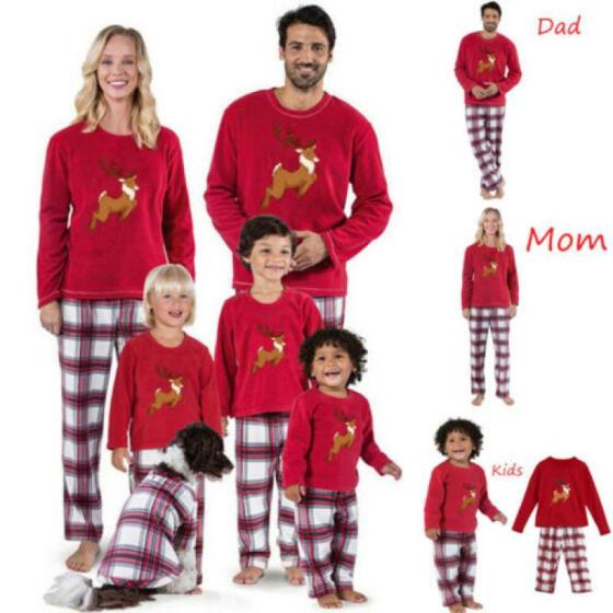 Family Matching Christmas Pajamas Set Women Men Kid Sleepwear Nightwear Pyjamas
