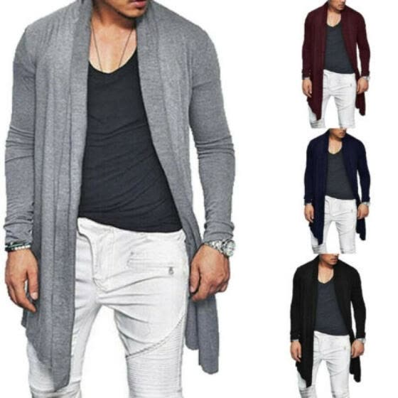 Mens Slim Fit Knitted Cardigan Sweater Long Sleeve Casual Jacket Coat Knitwear