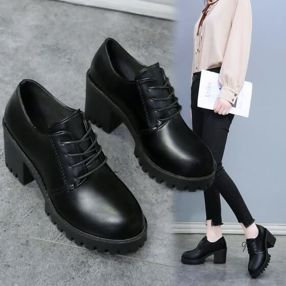 quality design look for sold worldwide Shop Classic fashion leather shoes tie, thick heels, high heels ...
