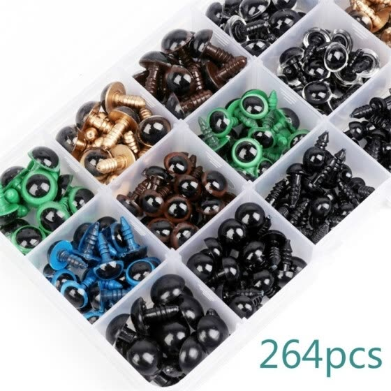 NEW 264Pcs DIY Mixed Craft Plastic Colorful Safety Eyes Washers for Teddy Bear Dolls Toy Making Doll