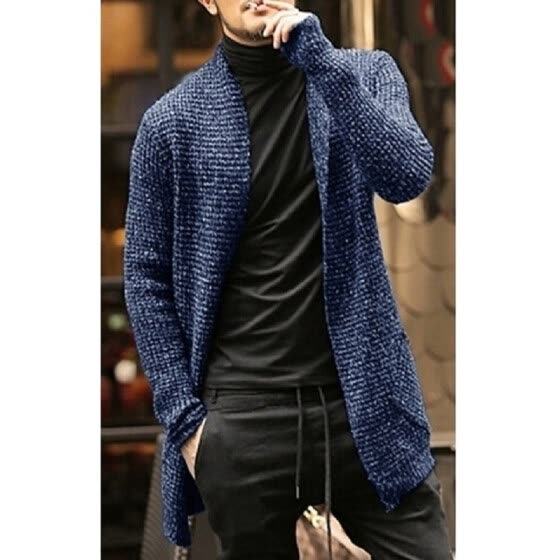 Mens Knitted Cardigan Long Sleeve Casual Slim Fit Sweater Jacket Coat Warm Tops