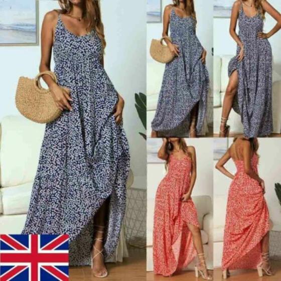 Boho Women Summer Holiday Polka Dot Maxi Dress V-neck Long Shirt Dress Size 6-14