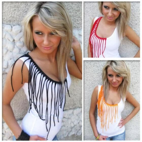 65eb02888d6845 Women Summer Tassels Vest Top Sleeveless Blouse Casual Tank Tops T-Shirt uk