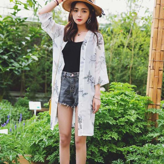 SALE Fashion Sunscreen Chiffon Shirt Retro Design Loose Outdoors Women Tops