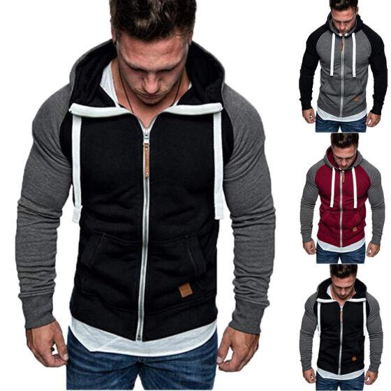 Men/'s Big Size Plain American Hood Zip Up Jacket Sweatshirt Zipper Hoodies Top