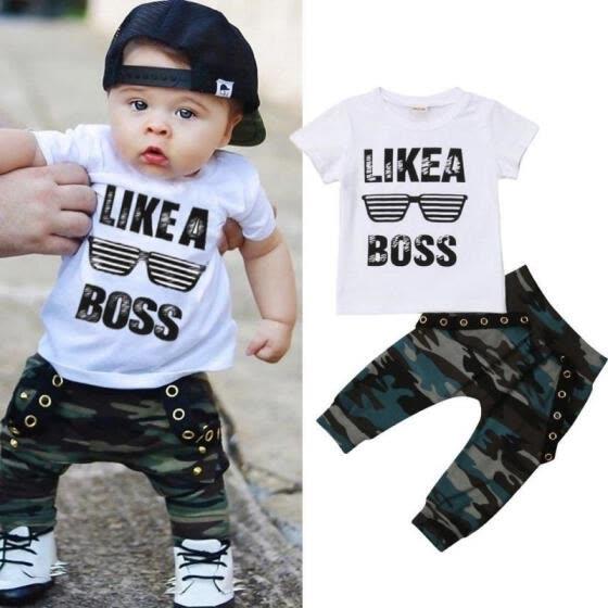 UK Summer Toddler Baby Boy Clothes Tops T-Shirt Camo Long Pants Outfits Sunsuit