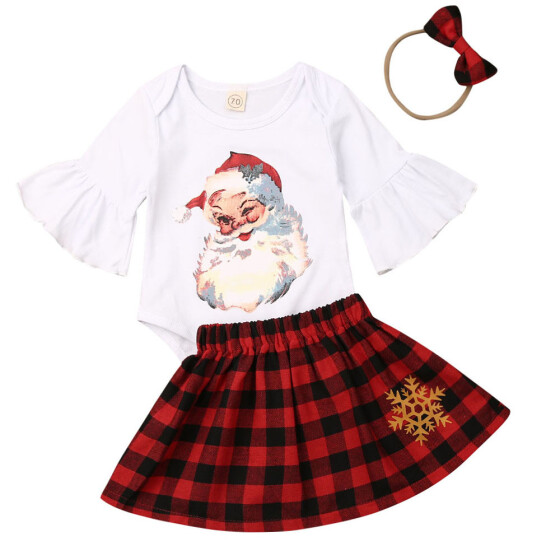 UK Toddler Baby Girl Princess Plaid T-shirt Top Tulle Skirt Dress Outfit Clothes