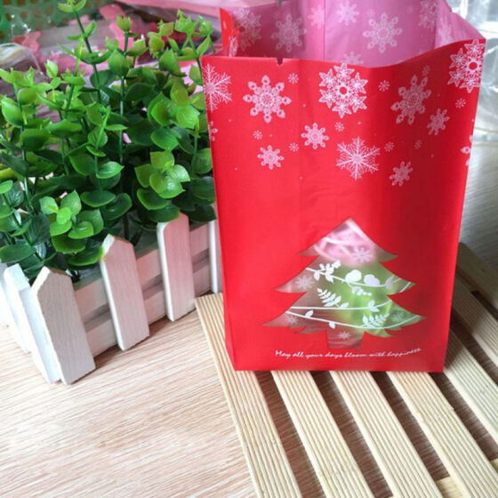 50pcs Merry Christmas Candy Bag Cookies Biscuits Gift Bag For Party Supplies
