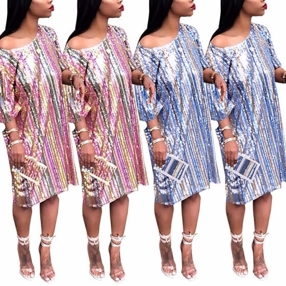 be3d335768a5 ONIEZZFOIR Sparkle Glam Sequin Glitter Rainbow Striped Halfsleeve Short  Loose Party Prom Dress T Shirt Dresses