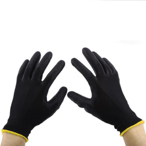 12//24 Pairs Thin PU Nylon Safety Coating Work Gloves Builders Palm Protect S M L
