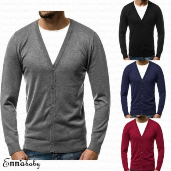 New Men's Long Sleeve V Neck Sweater Jumper Cardigan Sweatshirt Plain Top M-3XL