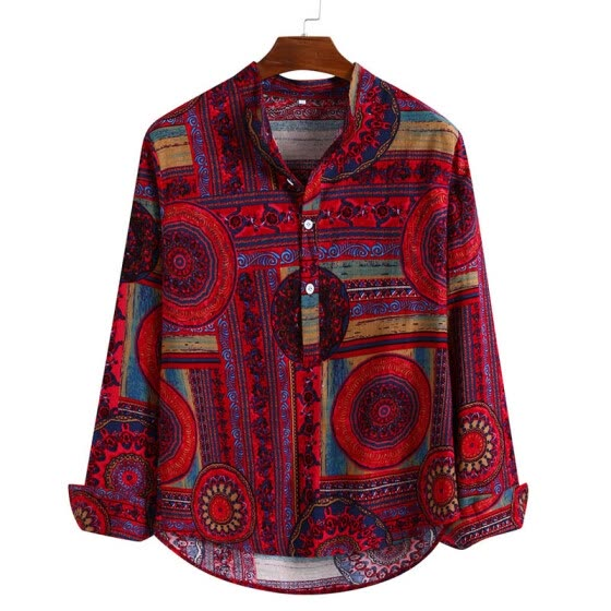 Fashion Men Shirts Long Sleeve Button Blouse Holiday Casual T Shirt Tops M~2XL