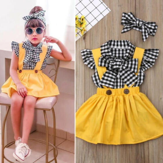 3Pcs Newborn Kids Baby Girls Floral Tops T-shirt Suspender Skirt Dress Outfits