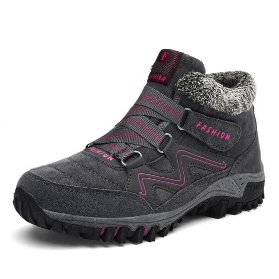 16b0234f6ae03d Men s Women Hiking Shoes Winter Warm Plus Velvet Sneakers 2018 New  Hook Loop Anti-slip Men