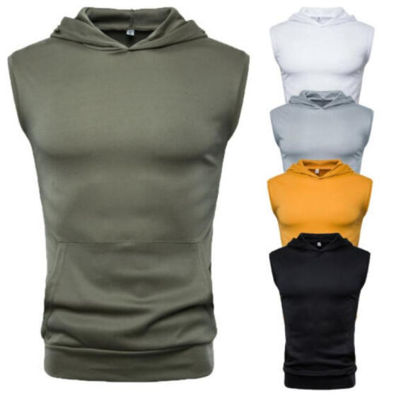 Mens Muscle Hoodie Tank Top Gym Workout Sleeveless Vest T-shirt Bodybuilding New
