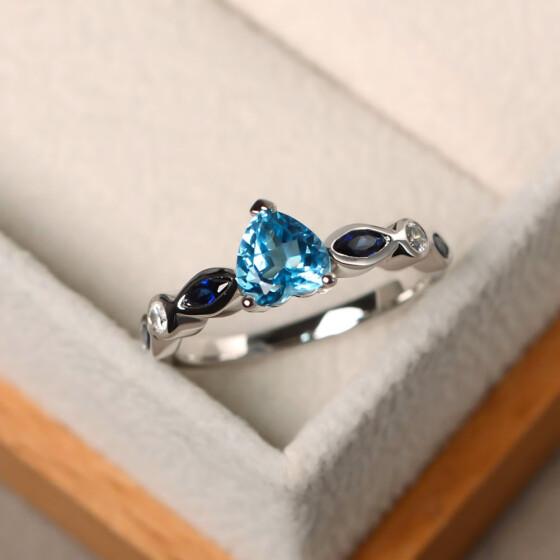 Elegant Womens Silver Colourful Rhinestone Crystal Finger Ring Jewelry Gift 6-10