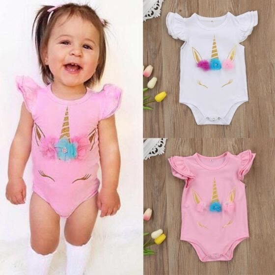 Infant Newborn Baby Girl Kids Unicorn Romper Bodysuit Jumpsuit Outfit Sunsuit Clothes