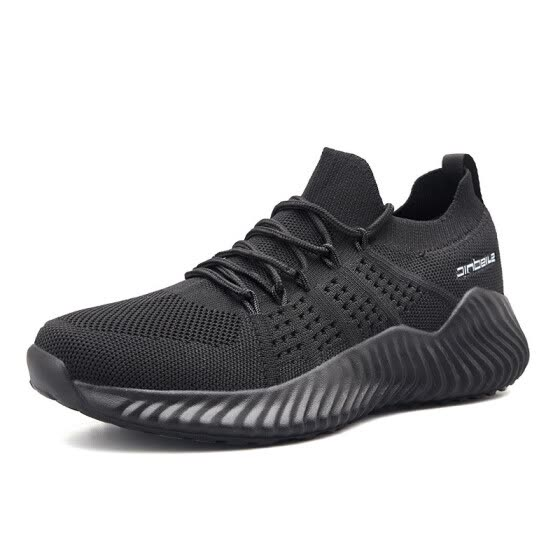 Casual men's sports shoes, lightweight, breathable socks, flying woven running shoes
