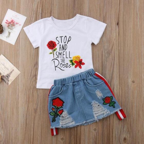 2pcs Fashion Girls Long Sleeve Red Blouse+Denim Rose Pants Kids baby Clothes Set
