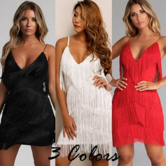 Women Backless Short Tassels Dress Evening Cocktail Party Beach Dresses Sundress