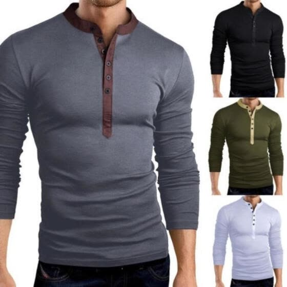 Men Slim Fit V Neck Long Sleeve Cotton Muscle Tee T-shirt Casual Tops Blouse