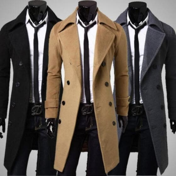 Fashion Men´s Trench Coat Warm Thicken Jacket Woolen Peacoat Long Overcoat US