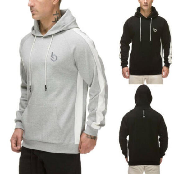 Mens Pullover Hoodie Hooded Sweatshirt Hip-Hop Top Plain Hoody Jumper Sweater