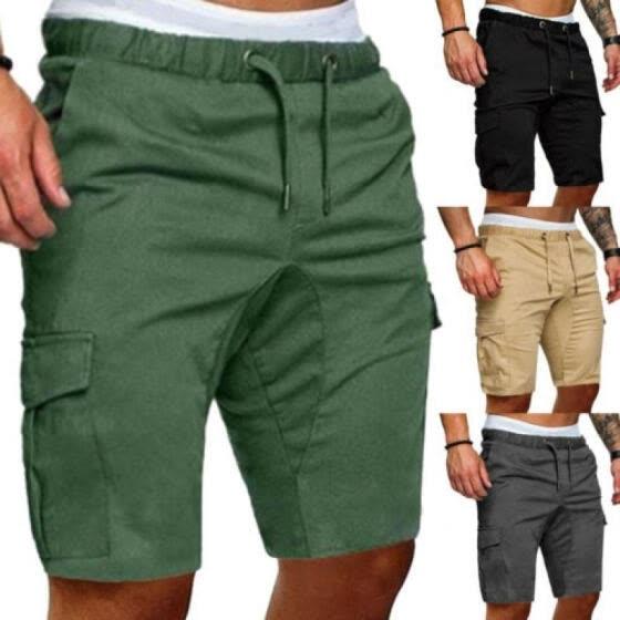 UK Stylish Men Cargo Work Shorts Elasticated Summer Casual Combat Pants Trousers