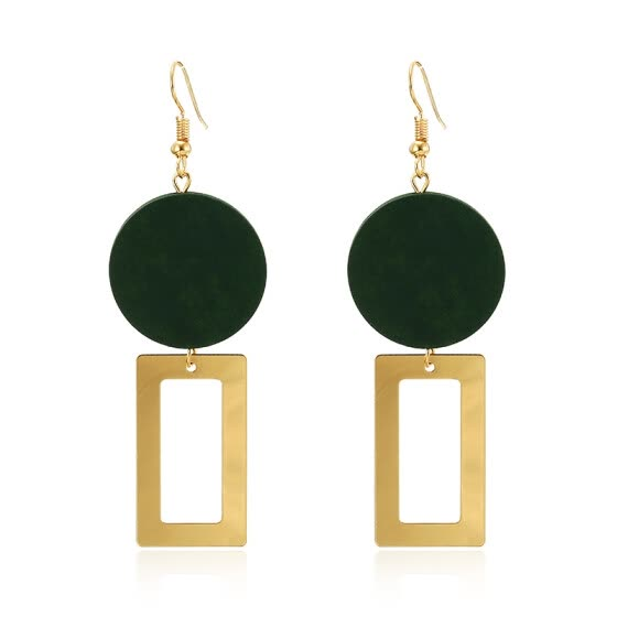 Natural Wood Circle Drop Earrings for Women Geometry Square Dangle Earring Ethnic Fashion Statement Ear Korean Jewelry Gift