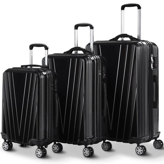 3 Pcs Luggage Travel Set Bag ABS Trolley Suitcase w//TSA Lock Gray