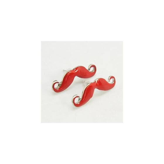 Fashion Moustache Ear Studs, Alloy Enamel Earrings, with Iron Pins and Plastic Ear Nuts, Platinum Metal Color, Red, about 13mm lon