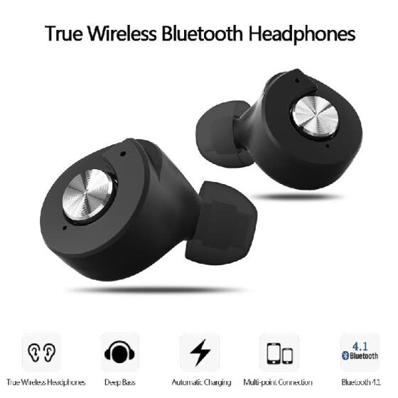 Yuer True Wireless Bluetooth Headphones Bluetooth 4.1 In-ear Stereo Deep Bass Headset  Hands-free with Mic Earphones Power Bank fo