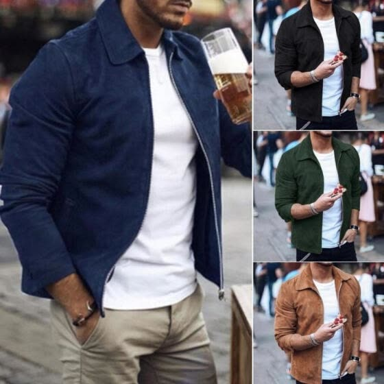 Men Zipper Casual Business Jacket Fight Bomber Coat Thin Autumn Baseball Outwear