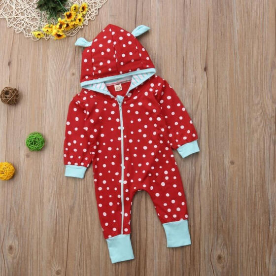 Newborn Baby Girls Boys Long Sleeve Hooded Romper Jumpsuit Clothes Outfits Set