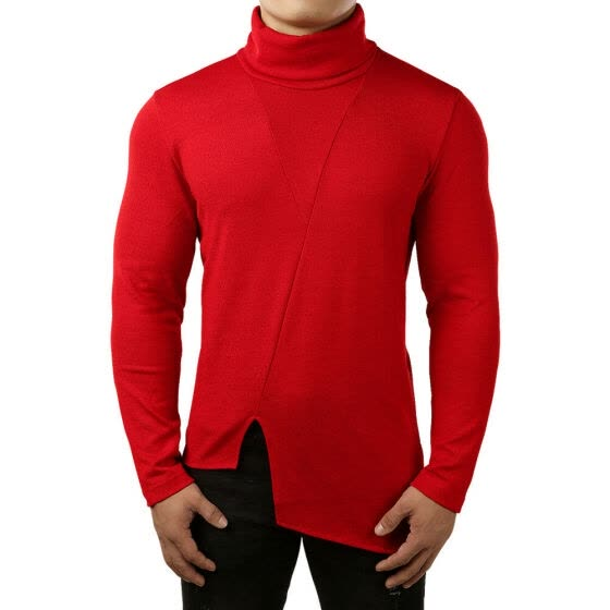 Men Thermal High Collar Turtleneck Pullover Long Sleeve Sweater Stretch Shirt