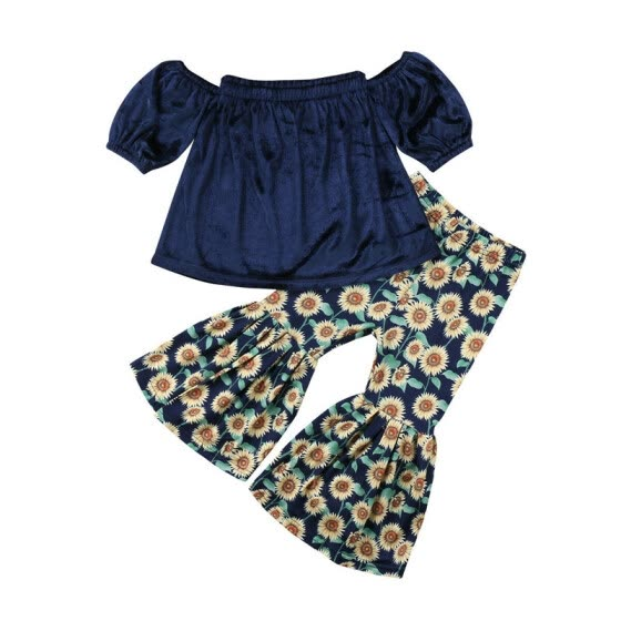 Toddler Baby Girls Off-shoulder Tops+Sunflower Printed Loose Pants 2Pcs Clothes