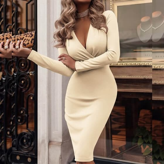 Starmoon Women Long Sleeved Deep V-neck Fit Work Dress Vintage Office Dress