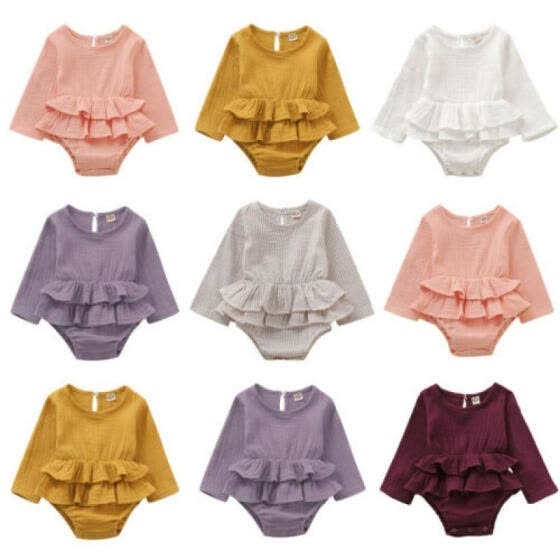 US Newborn Infant Baby Girl Clothes Romper Jumpsuit Dress Solid Outfit Autumn