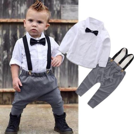 UK 2PCS For 0-24M Baby Boy Gentleman Outfits Clothes Romper Tops Bib Pants