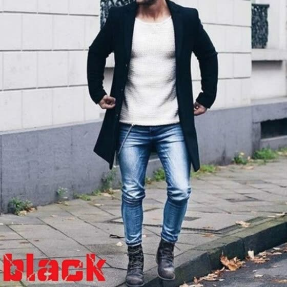 Men Wool Coat Winter Trench Coat Outwear Overcoat Long Sleeve Button Up Jacket