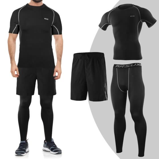 e2460fd387a04c 3Pcs Men Workout Clothes Set Compression Pants Short Sleeve Shirt and Loose  Fitting Shorts for Cycling