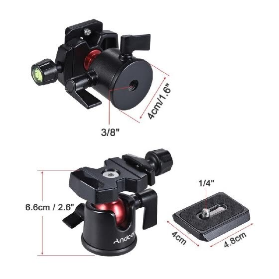 Andoer Mini Ball Head Ballhead Tabletop Tripod Stand Adapter Panoramic Photography Head with Quick Release Plate for Canon Nikon S