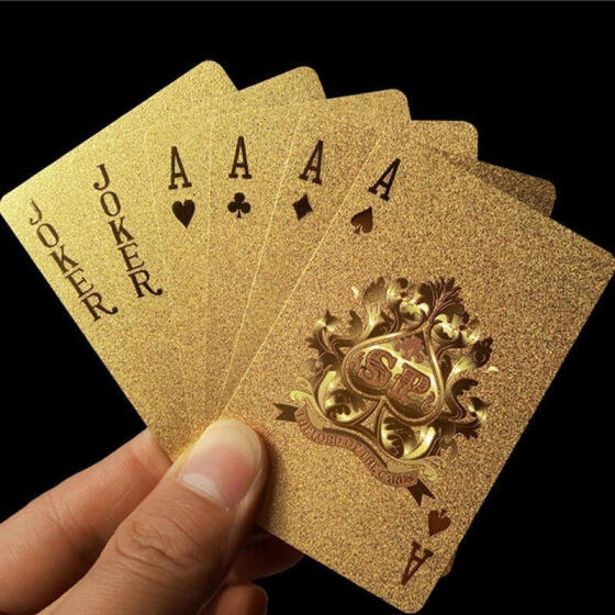 New Golden Playing Cards Deck gold foil poker 24K Gold Plastic Waterproof Cards