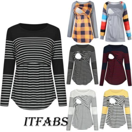 UK Pregnant Womens Maternity Clothes Striped Long Sleeve T-Shirt Nursing Tops