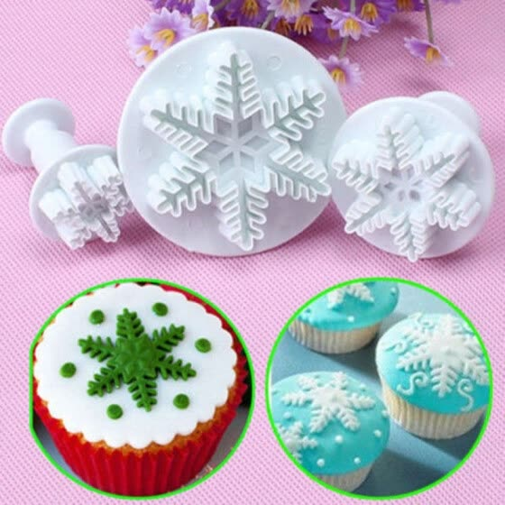 3PC Snowflake Fondant Cookie Cutter Cake Plunger Sugarcraft Mold