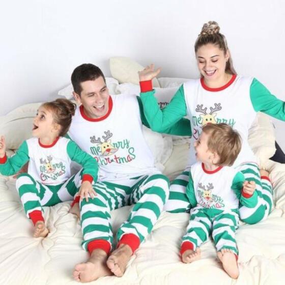 Family Matching Christmas Pajamas Set Womens Mens Kids Xmas Sleepwear Nightwear