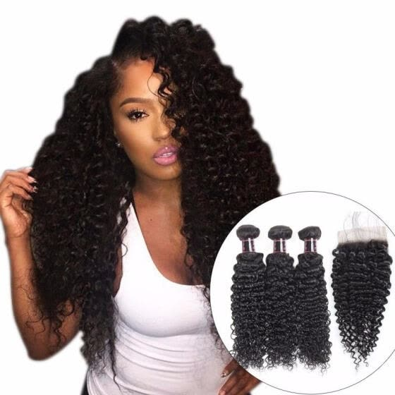 Afro Kinky Curly Weave Human Hair Bundles With Lace Closure, Non-remy Hair, Peruvian Hair Weave 3 Bundles With Closure